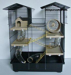 Nagerkäfig kaufen: Super Hamsterkäfig, Nagerkäfig, Käfig CH2 in schwarz/beige Gratis Futternapf